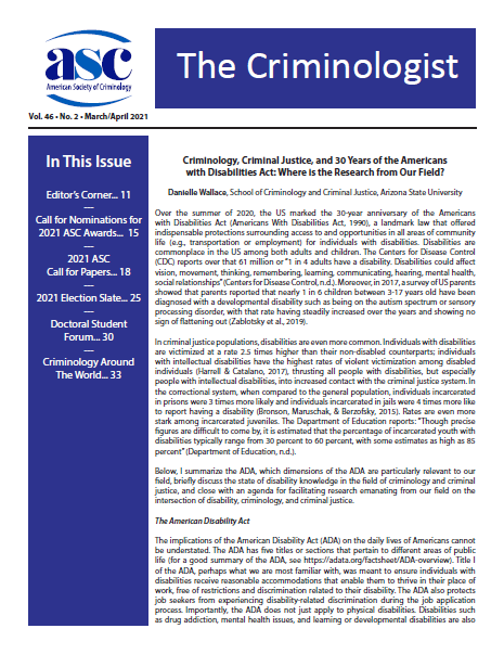 Link to current issue of The Criminologist